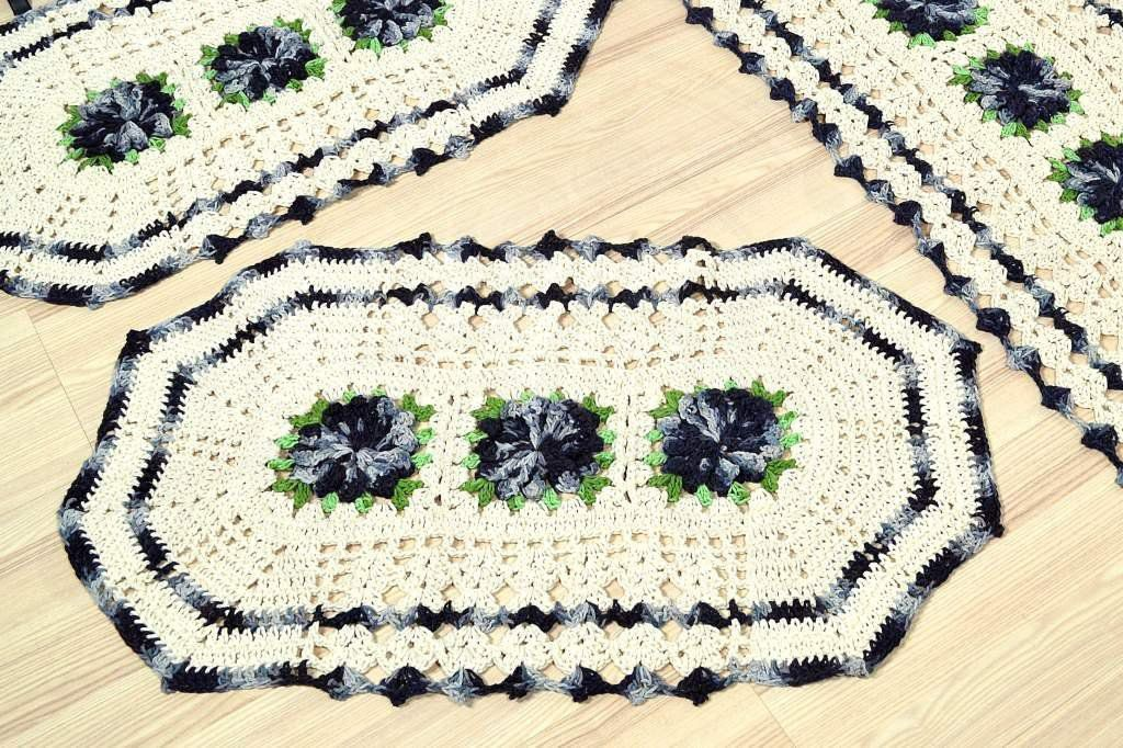 Jogo de Tapetes Especial - Flores Cinza Sóbrio