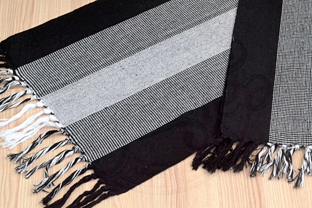 Par de Tapetes de Tear Retangular - Tricolor Preto