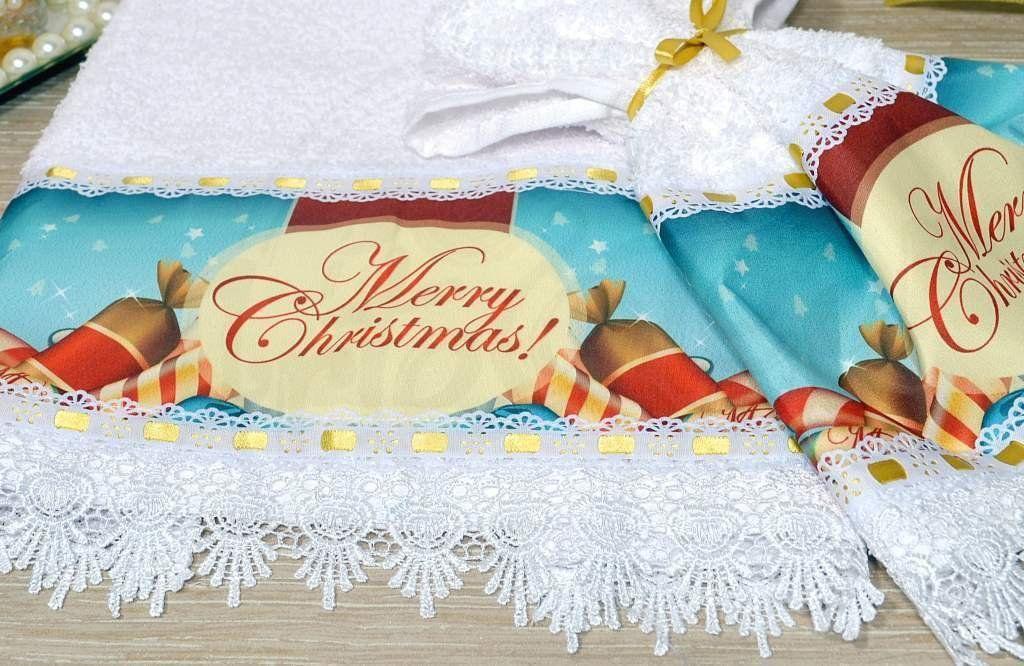 Jogo de Toalhas Rosto e Mão - Merry Christmas