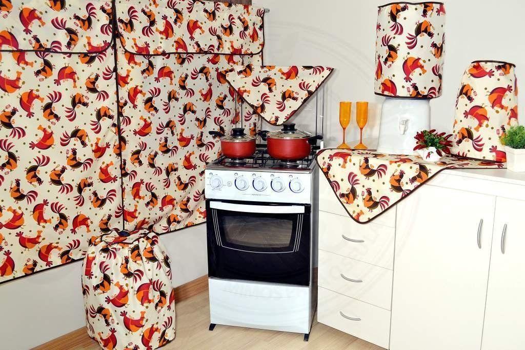 Jogo para Cozinha 6 peças - Tema Galinha Cozinheira em Oxford
