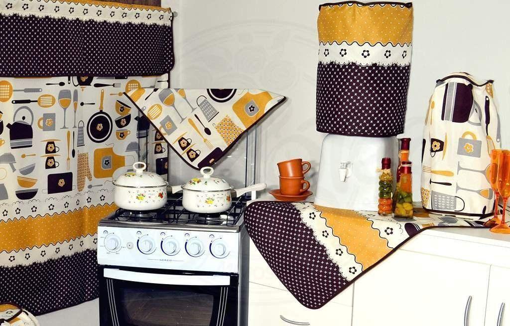 Jogo para Cozinha 6 peças - Tema Utensílios de Cozinha em Oxford