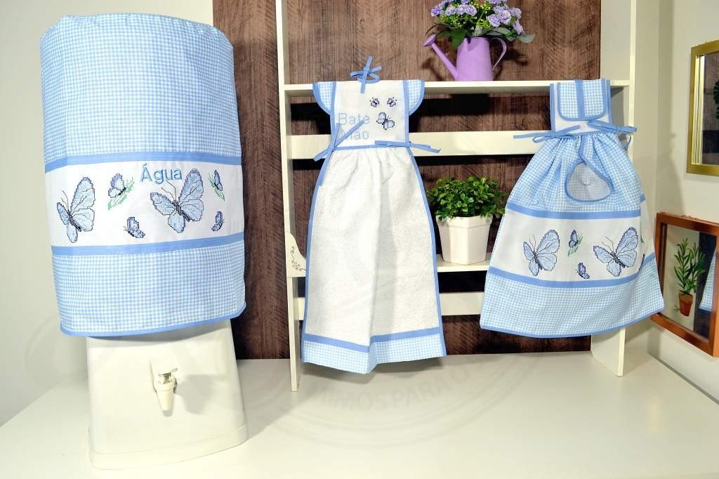 kit de Cozinha 3 Peças - Borboletas Azul