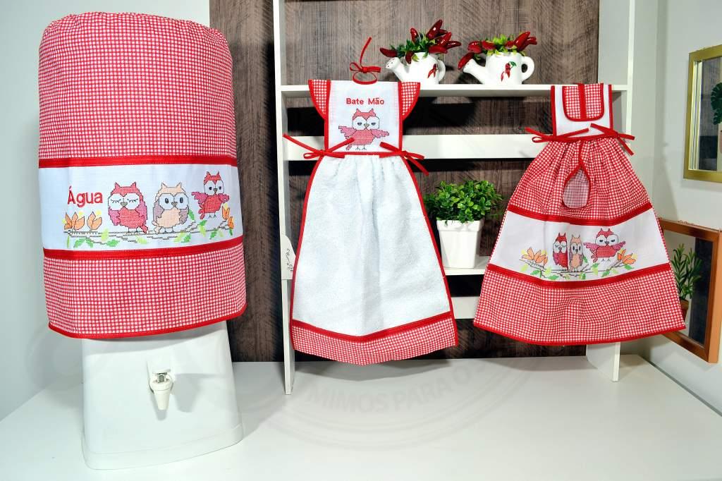 kit de Cozinha 3 Peças -  Corujinha Vermelha