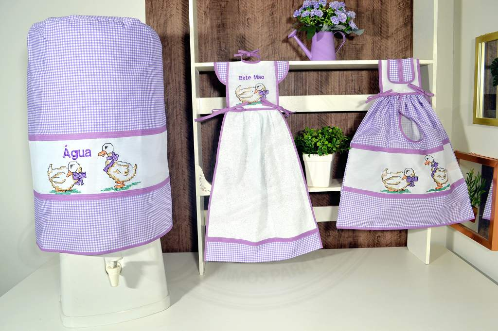 kit de Cozinha 3 Peças -  Patinho Lilás