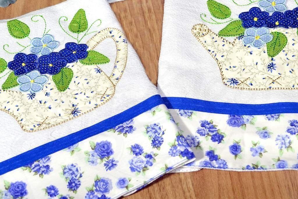 Kit de Cozinha Bordado Patchwork - Regador Azul com Flores