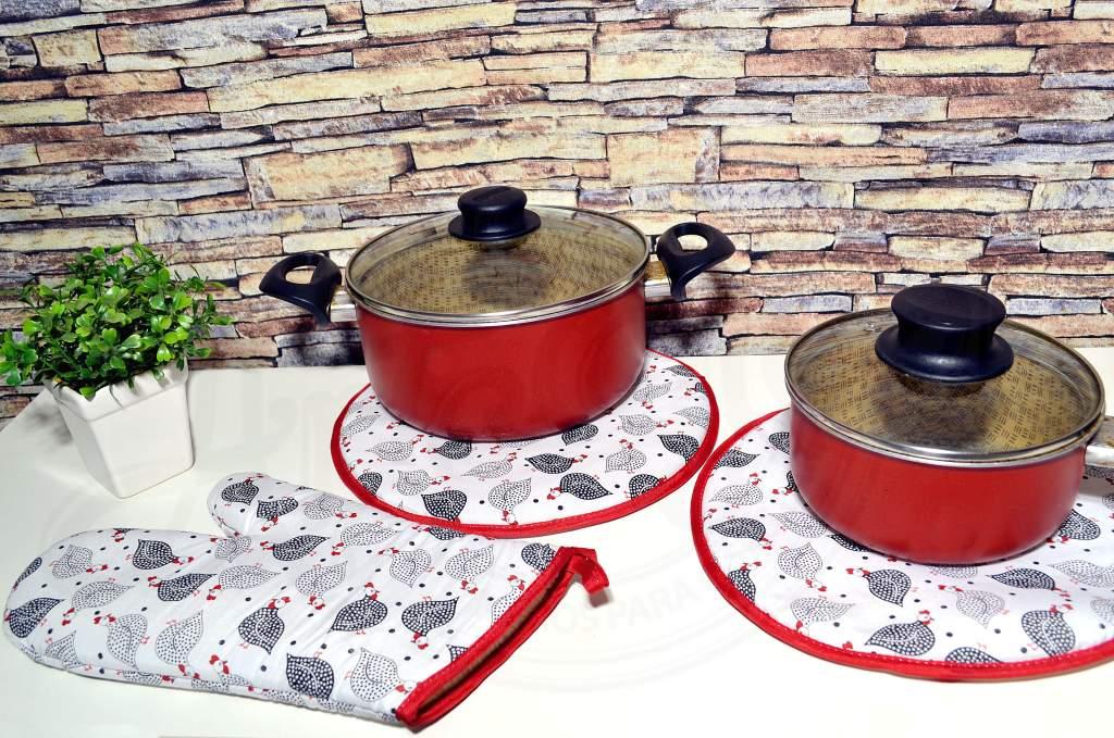 Kit Descanso de Panelas e Luva 3 Peças - Galinhas