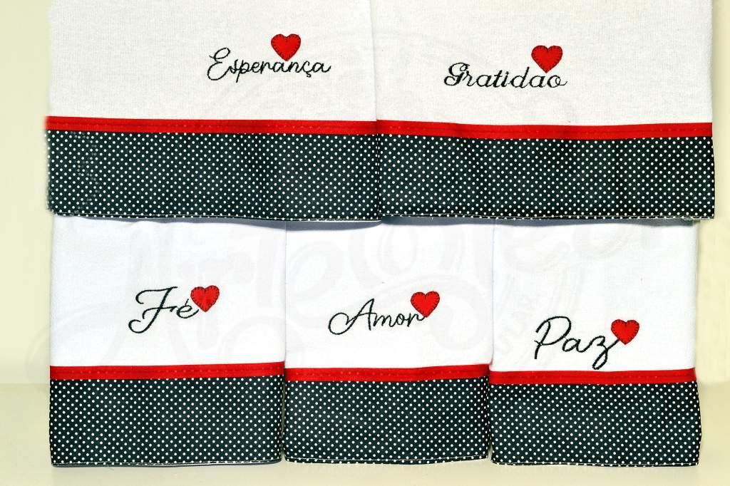 Kit Pano de Prato Bordado com 5 pçs - Frases