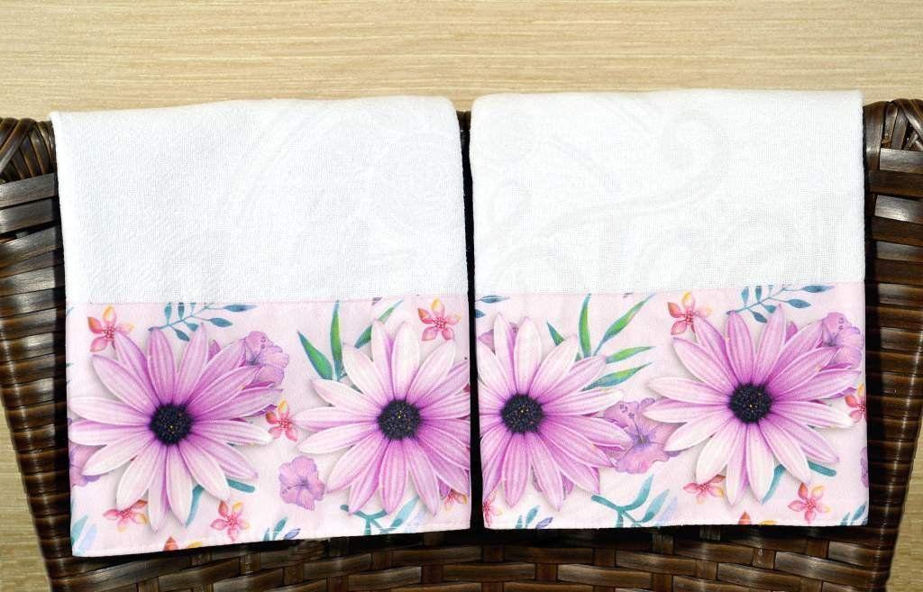 Kit Pano de Pratos com 2 peças - Flores Lilás