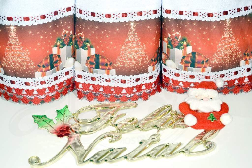 Kit Pano de Pratos com Barrado 3 peças - Tema Natal