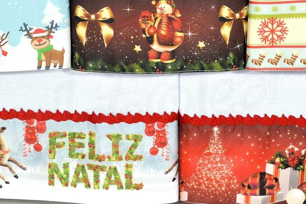 Kit Pano de Pratos com Barrado 5 peças - Natal