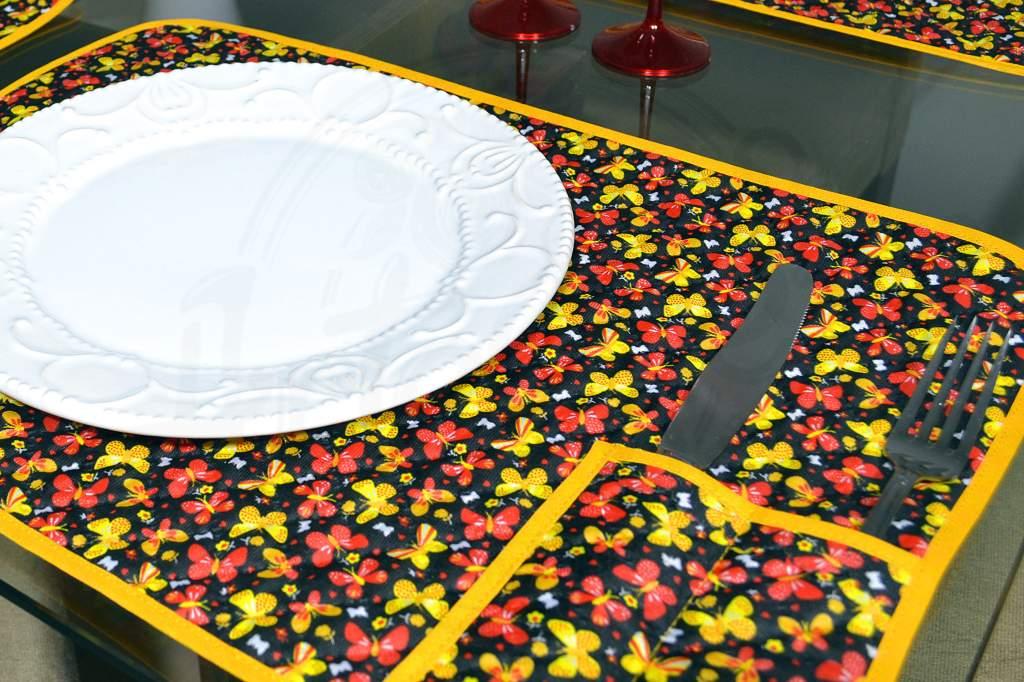 Lugar Americano Individual Matelado - Borboletas Amarelas