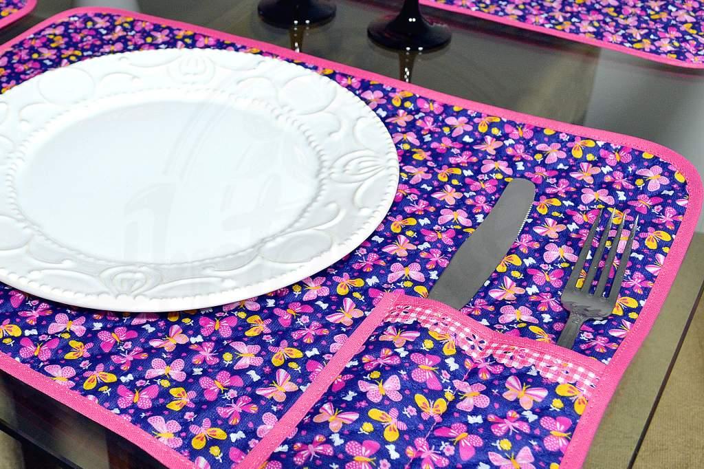 Lugar Americano Individual Matelado - Borboletas Pink