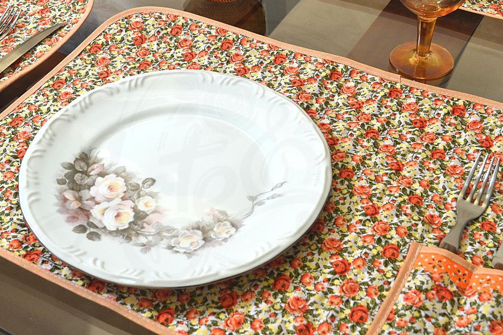 Lugar Americano Individual Matelado - Floral Laranja