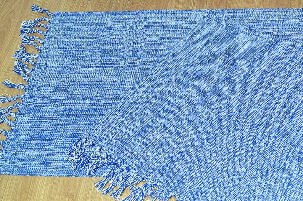 Par de Tapetes de Tear Retangular - Azul Claro Mesclado