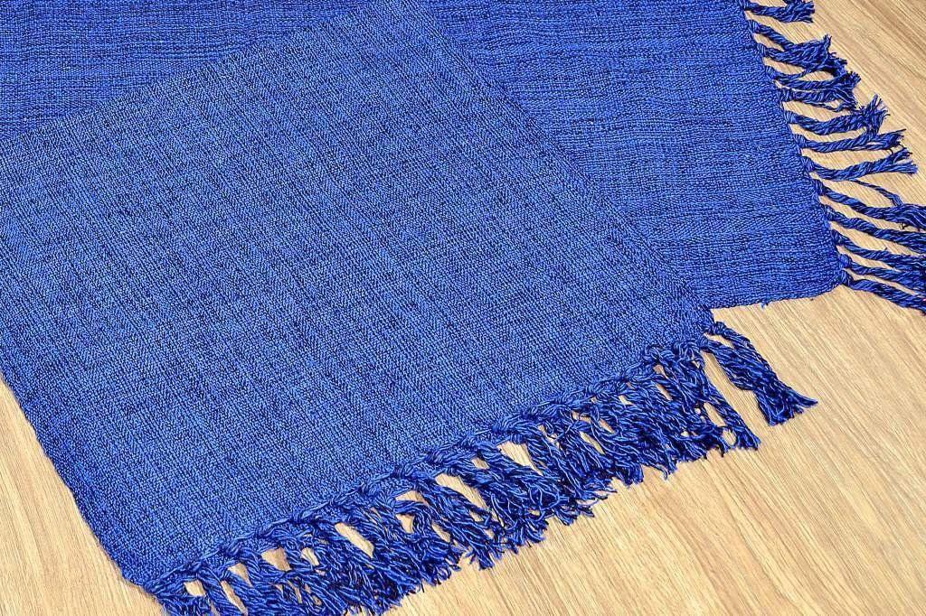 Par de Tapetes de Tear Retangular - Azul Mesclado