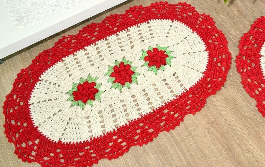 Par de Tapetes em Crochê Oval - Florinda