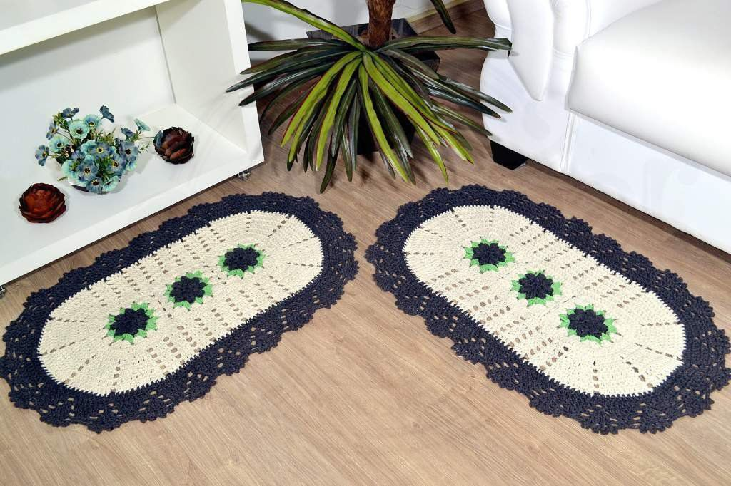 Par de Tapetes em Crochê Oval - Nicolly