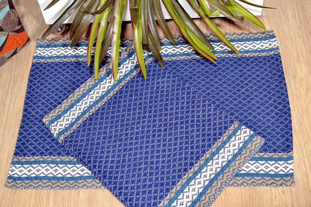Par de Tapetes Montreal -  Cinza e Azul Marinho
