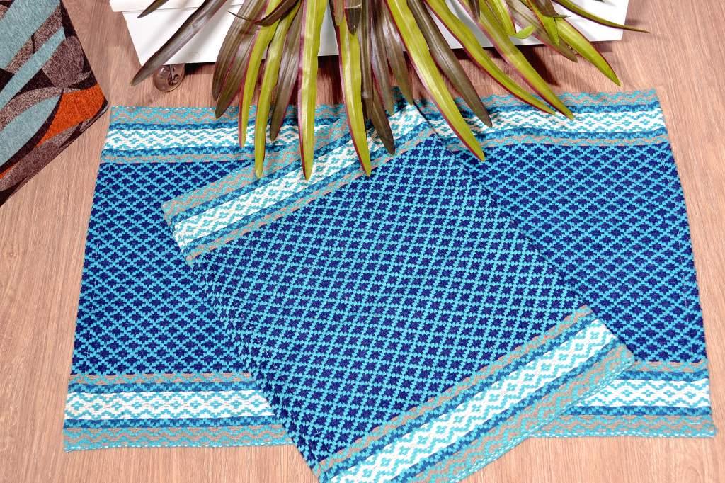 Par de Tapetes Montreal - Tiffany e Azul Marinho
