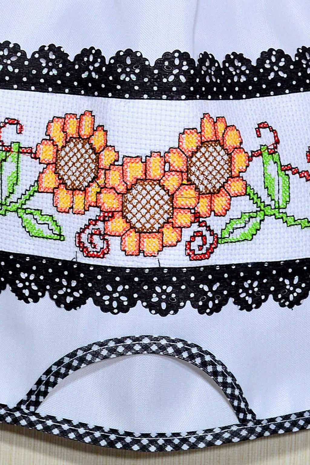 Puxa Saco Branco Bordado - Girassol