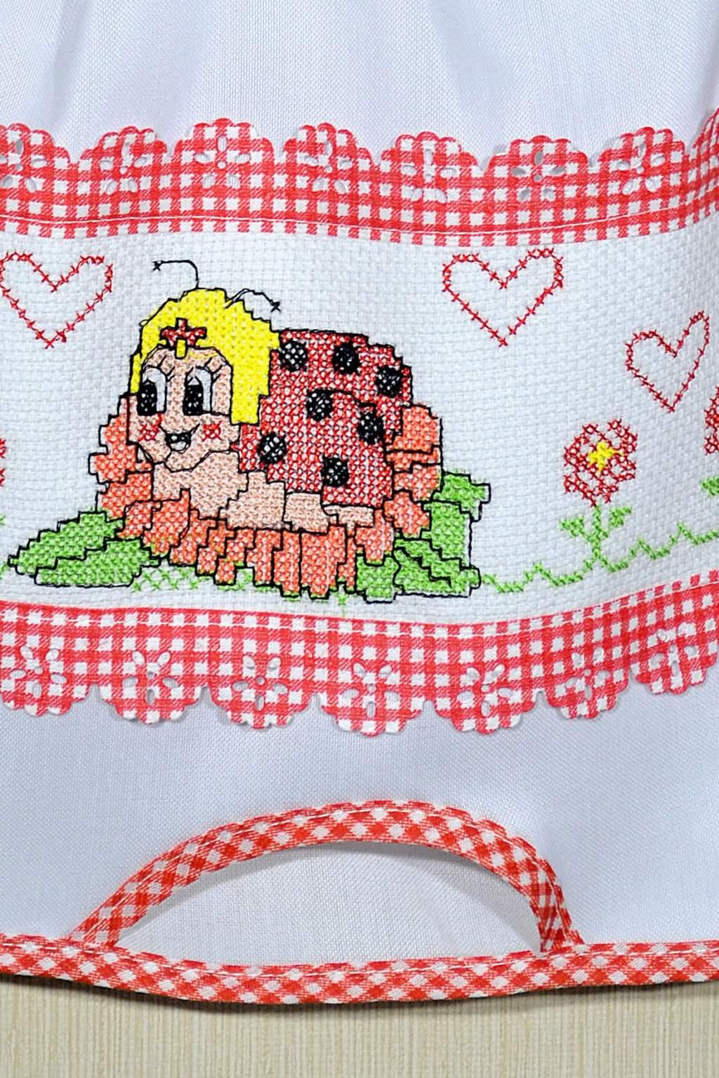Puxa Saco Branco Bordado - Joaninha em Vermelho