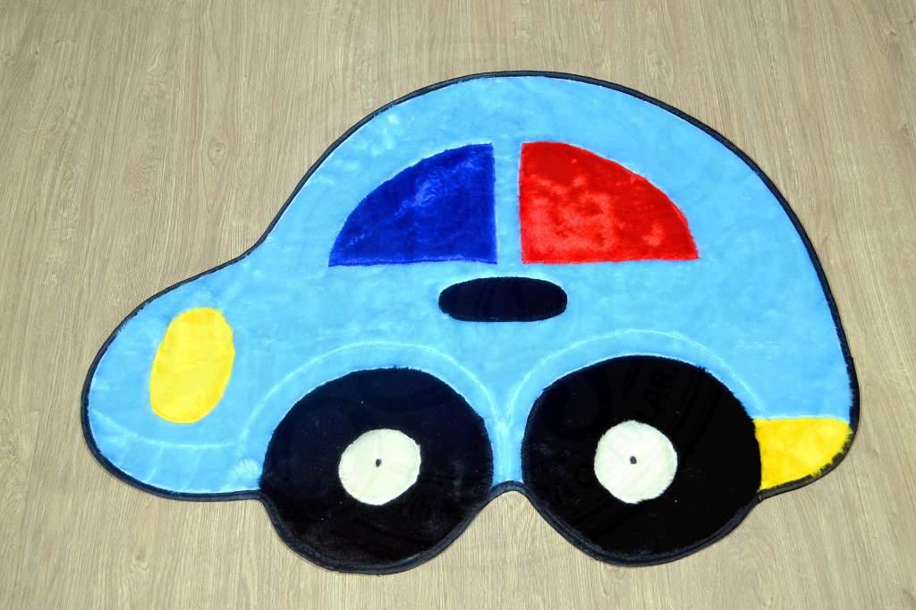 Tapete de Pelúcia Infantil - Fusca Azul Claro