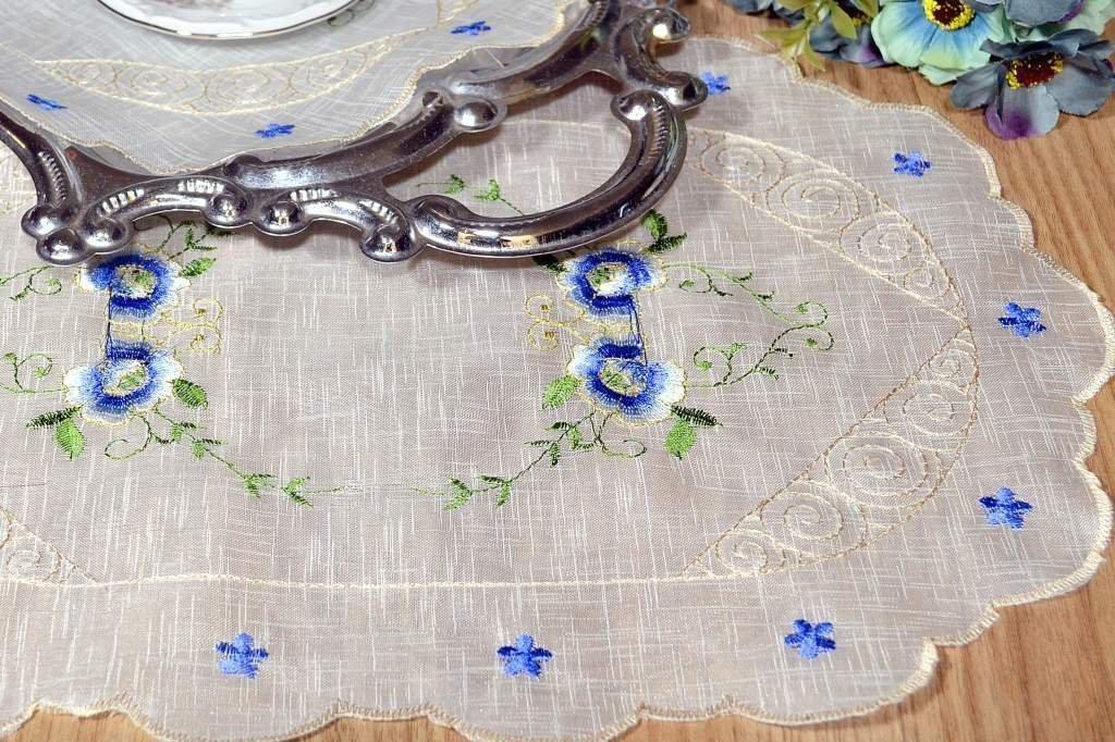 Toalha de Bandeja Bordada Flower Blue