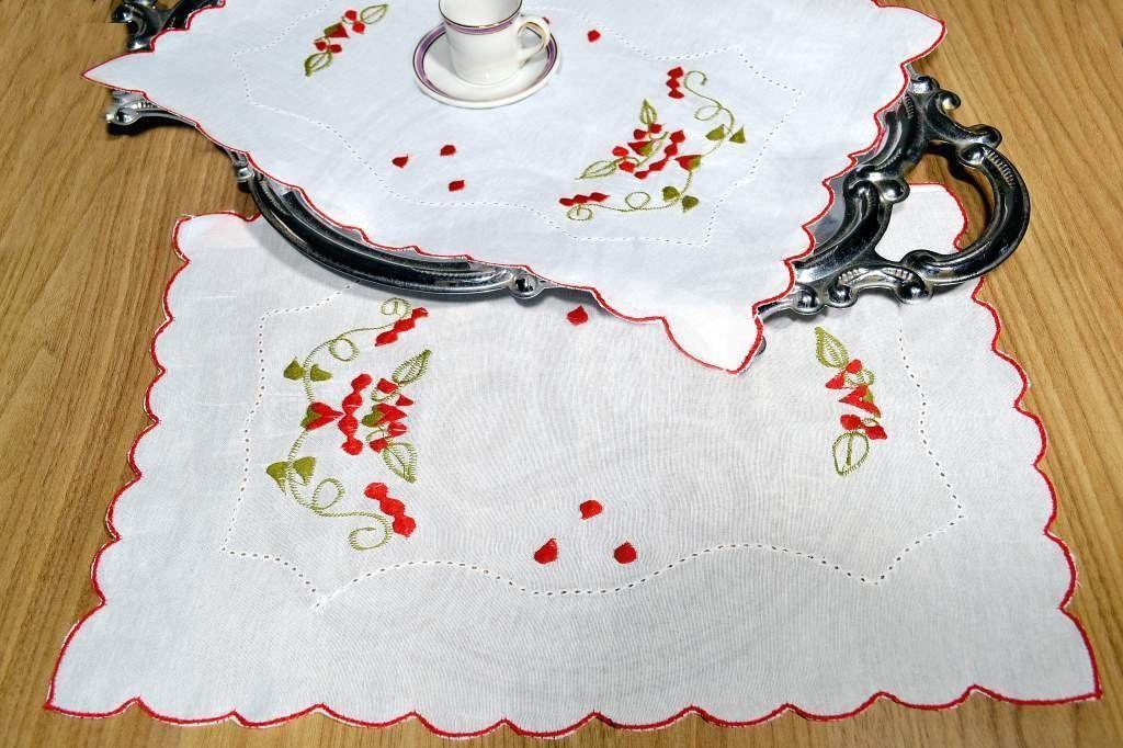 Toalha Bandeja de Linho Bordada  - Rafaela