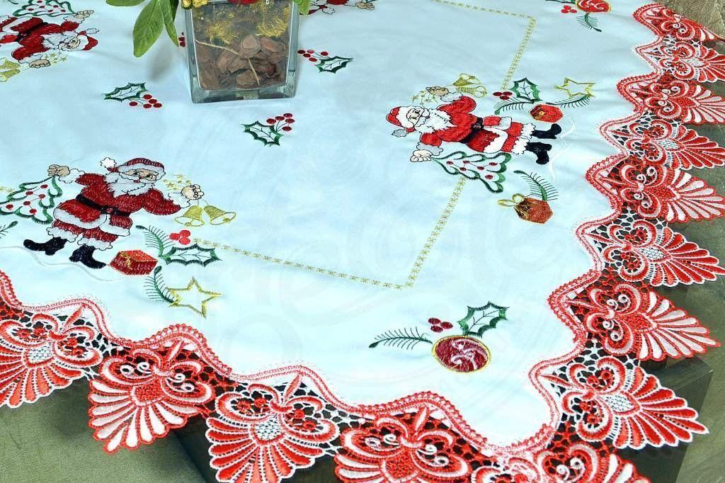 Toalha de Centro Bico Vermelho Papai Noel