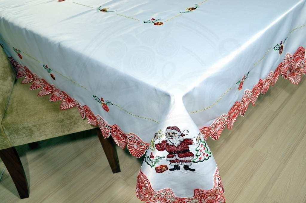 Toalha de Mesa Bordada 3,10m Papai Noel