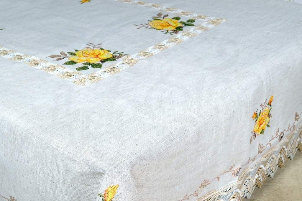 Toalha de Mesa Bordada 2,20m Ponto Cruz Flores Amarelas