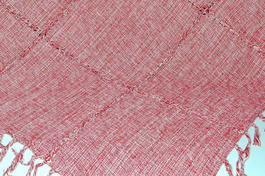 Xale de Sofá Bainha Aberta Vermelho Mesclado