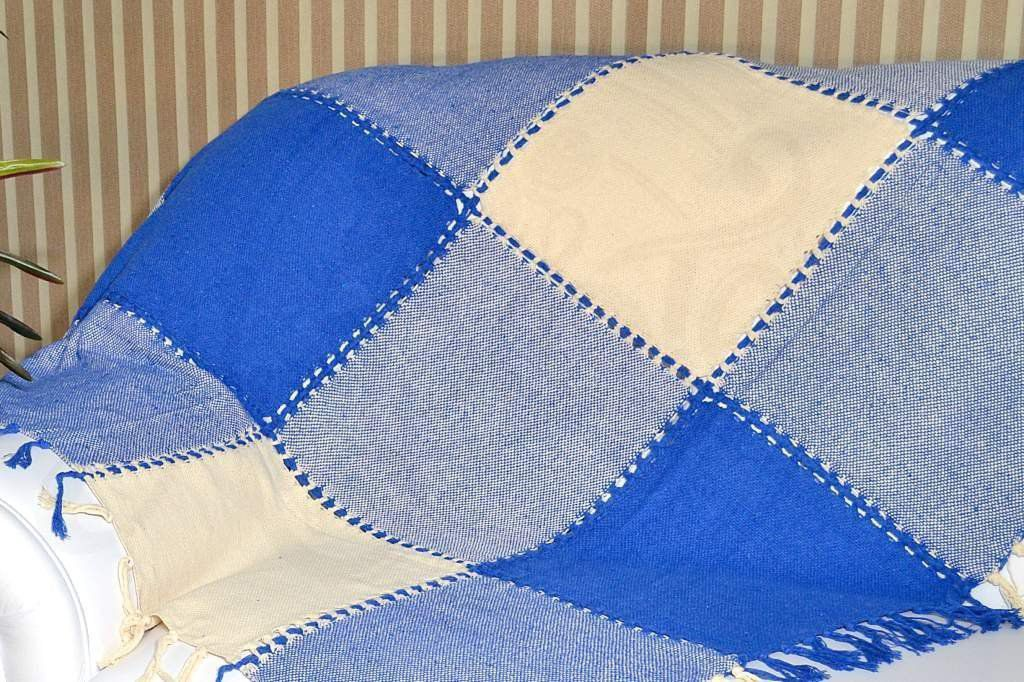 Xale de Sofá Bainha Aberta - Xadrez Azul