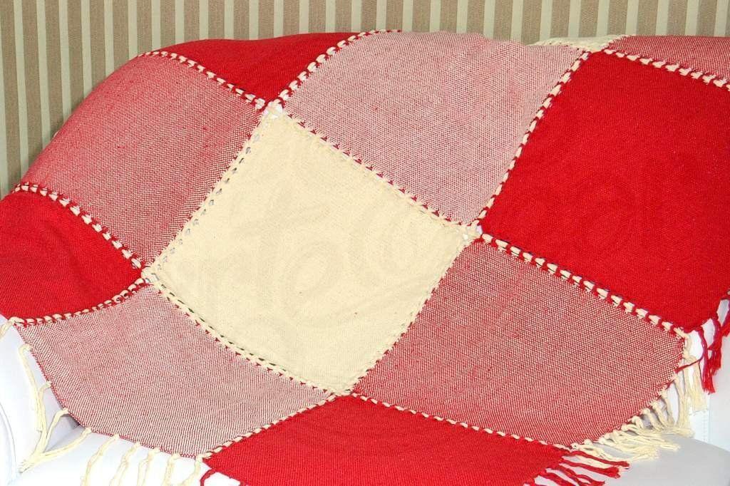 Xale de Sofá Bainha Aberta - Xadrez Vermelho