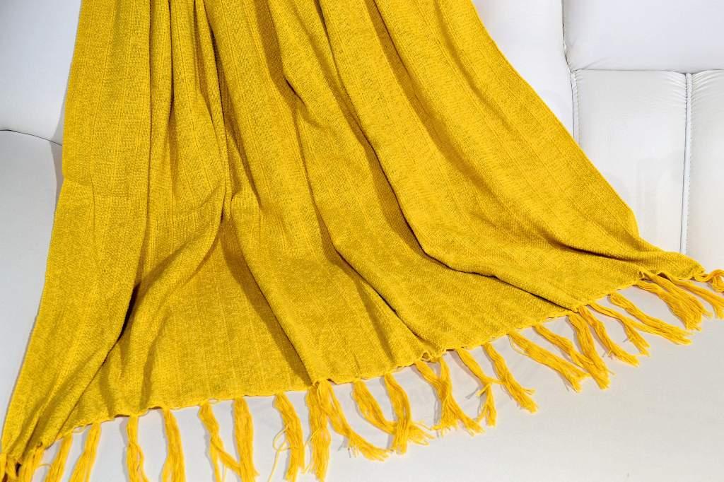 Manta de Sofá Chenille - Amarelo