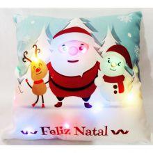 Capa para Almofada Aveludada Natal LED Dia de Natal - Rozac