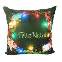 Capa para Almofada Aveludada Natal LED Guirlanda de Natal - Rozac