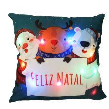 Capa para Almofada Aveludada Natal LED Noite de Natal - Rozac