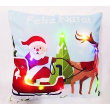 Capa para Almofada Aveludada Natal LED Renas 2 - Rozac