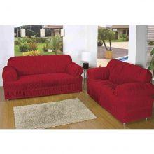 Capa para sofá 2 e 3 lugares América tamanho Único 21 Elástico Vermelho - Jersey Bras