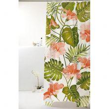 Cortina para Box De Banheiro Poliéster Flores Tropicais - Bella Casa
