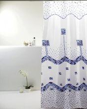 Cortina para Box De Banheiro Poliéster Náutica Azul- Bella Casa