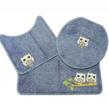 Jogo Banheiro 3 Peças Cotton Fashion Azul/Corujas - Tapetes Miriam