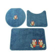Jogo Banheiro 3 Peças Cotton Fashion Azul/Vermelho - Tapetes Miriam
