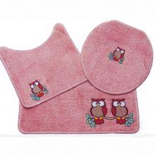 Jogo Banheiro 3 Peças Cotton Fashion Salmão/Vermelho - Tapetes Miriam