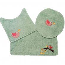 Jogo Banheiro 3 Peças Cotton Fashion Verde Água/Passarinho - Tapetes Miriam
