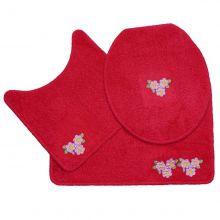 Jogo Banheiro 3 Peças Cotton Fashion Vermelho/Floral - Tapetes Miriam