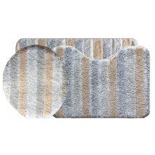 Jogo tapetes para Banheiro 3 Peças Listrado Soft Decor  Bege - Bella Casa