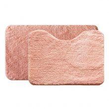 Jogo de Tapete Soft Color Para Banheiro 2 Peças Salmão - Bella Casa