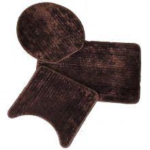 Jogo de tapetes para Banheiro 3 Peças Provence Marrom- Tapetes Miriam